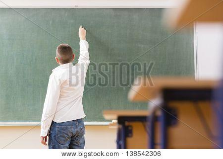 Boy examination at school