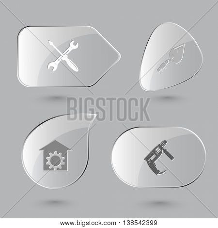 4 images: screwdriver and spanner, trowel, repair shop, electric drill. Industrial tools set. Glass buttons on gray background. Vector icons.