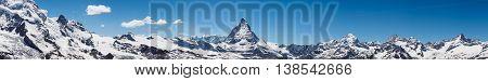 Panorama view of Matterhorn peak in sunny day from gornergrat train station Zermatt Switzerland.