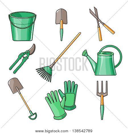 Set of various gardening items. Garden tools. Flat design illustration of items for gardening. illustration.