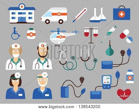 Large set of medical icons (vector illustration, flat concept)
