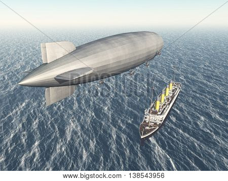 Computer generated 3D illustration with airship and ocean liner