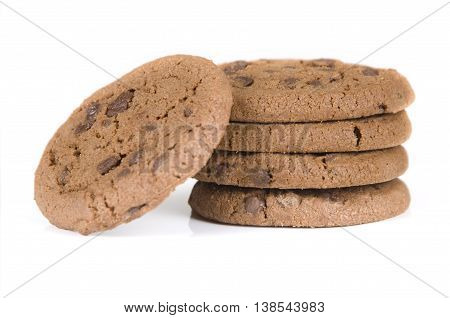 Close-up of Chocolate Chip cookies on white background