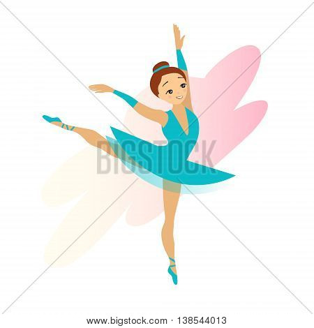 Cute cyan Ballerina girl isolated on white background
