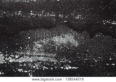 Cracked Black And White Paint On Grunge Metal  - Macro 2