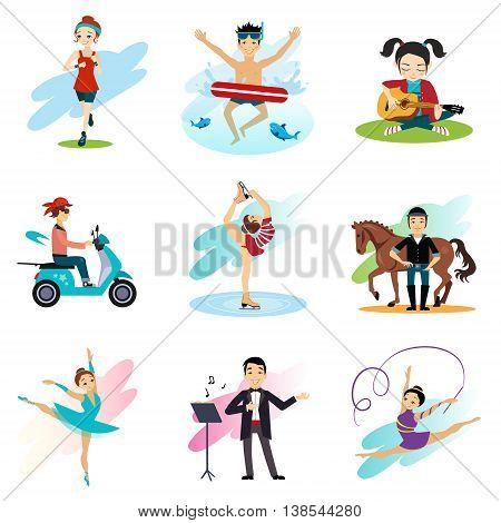 Active lifestyle, Hobbies, healthy lifestyle set isolated illustration