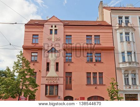 PRAGUE CZECH REPUBLIC - MAY 20 2016: Hussite Church (circa 1925) on Taborska Street in Nusle district of Prague. Nusle was independent town and became part of Prague in 1922
