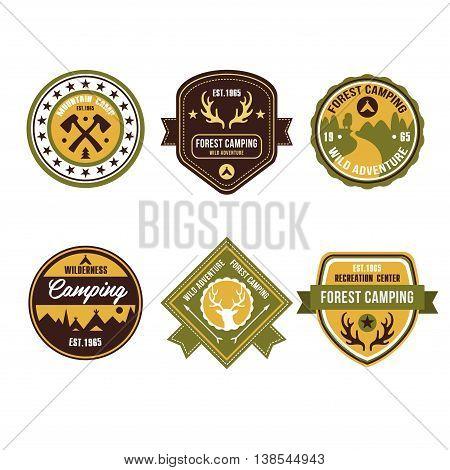 Set of vintage outdoor camp badges and logo emblems
