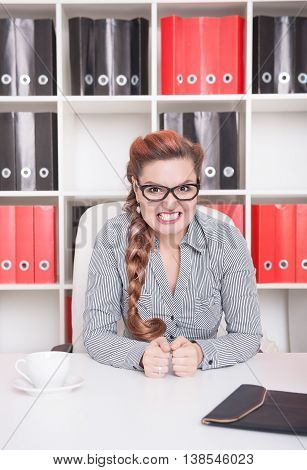 Angry Business Woman Boss In Office