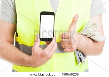 Male Builder Doing Thumbup And Show Smartphone