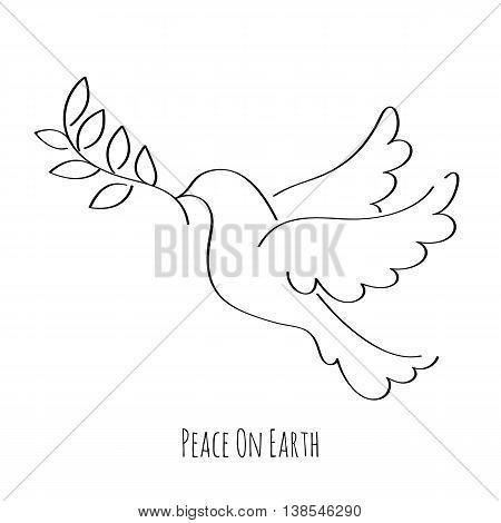 Dove symbol of peace hand drawn vector illustration.