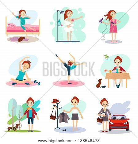 Daily Routine set with cute girl illustration