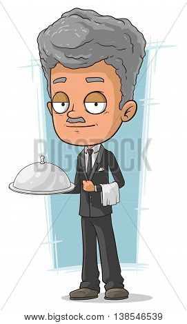 A vector illustration of cartoon grizzle waiter with tray