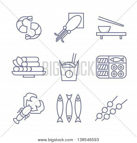 Seafood icons, thin line style, flat design set