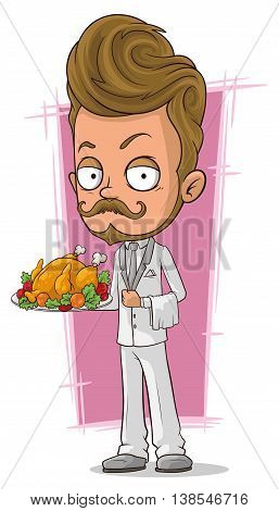 A vector illustration of cartoon handsome waiter in white suit