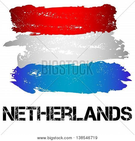 Flag of Netherlands from brush strokes in grunge style isolated on white background. Country in Western Europe. Vector illustration