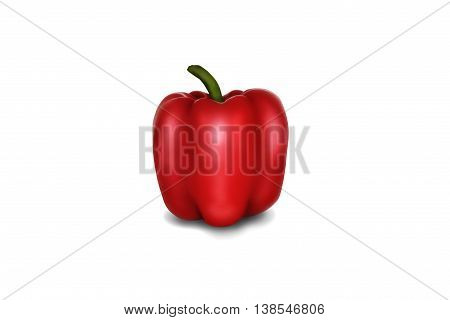 Red ripe bright Bulgarian tasty pepper on a white background