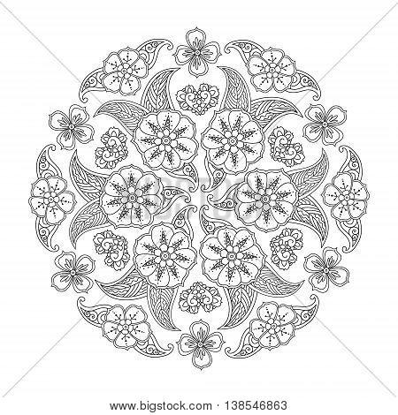 Mendie Mandala with flowers and leaves. Art vector illustration