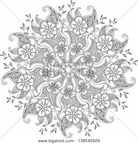Monochrome Mendie Mandala with flowers and leaves isolated on white background. Can be used for coloring book. Art vector illustration