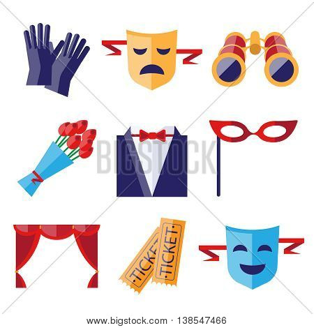 Theater performance decorative icons flat set with mask applause flowers isolated illustration