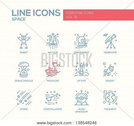 The Space - modern vector plain line design icons and pictograms set. Robot, shuttle, telescope, capsule, moon car, liftoff, rocket, stars, constellation alien spaceship earth