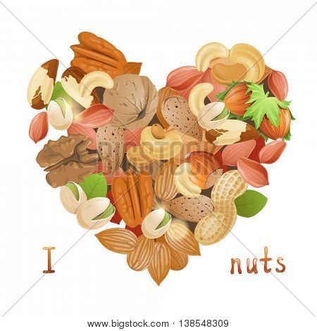 Bright heart made from nuts