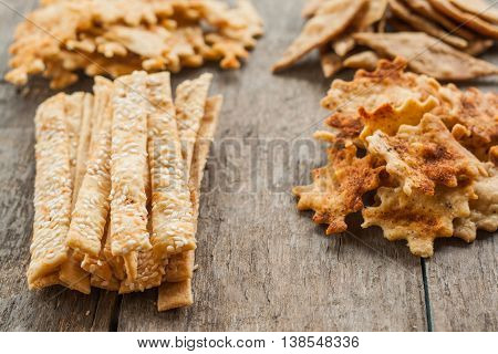 Homemade Cheese Crackers With Sesame Seeds