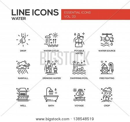 Water - modern vector plain line design icons and pictograms set. Drop, water cycle, potable, drinking water, source, rainfall, swimming pool, fire fighting, well, bath voyage crop