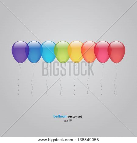 Set of Eight Rainbow helium colorful balloons