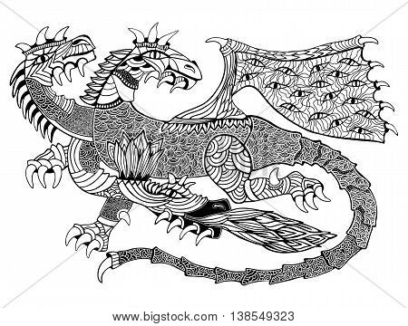 Hand drawn vector illustration with geometric and floral elements. Original hand drawn three-headed Dragon.