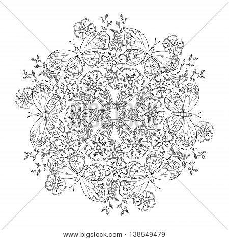 Mendie Mandala with butterflies on the meadow. Can be used for coloring book. Vector illustration