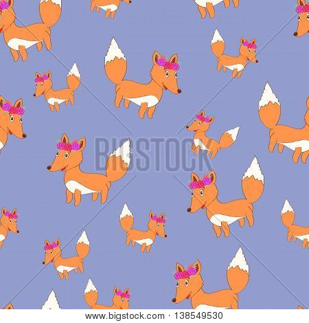 Cute vector fox seamless pattern. Cartoon fox. Cute fox with floral wreath.