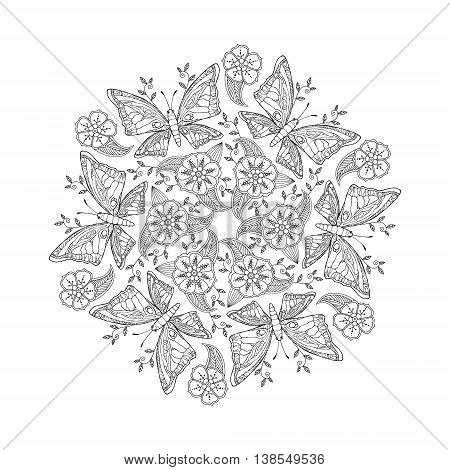 Mendie Mandala with butterflies on meadow. Zenart inspired. Can be used for coloring book. Vector illustration