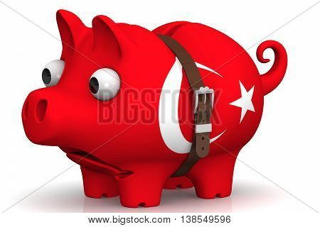 The economic crisis in Turkey. Tightened with a strap pig piggy bank with bulging eyes in the color of the Turkey flag on a white surface. The concept of economic crisis in Turkey. Isolated. 3D Illustration