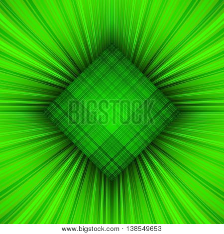 3d illustration. Radiant green psychedelic background. The three-dimensional space of the room. The prospect of converging to the center of the multi-colored stripes.