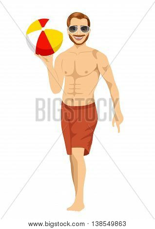 beach dude with sunglasses holding an inflatable striped ball isolated on white background
