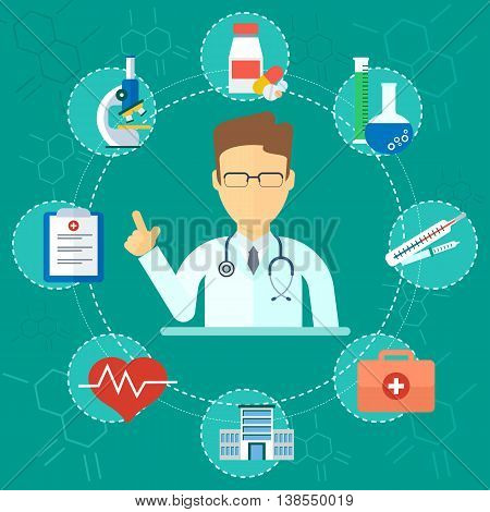 Medical Concept Man Doctor Icons