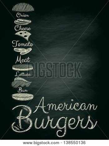 Burger Menu Poster on Chalkboard. Hamburger Ingredients. Place for Text. Vector Illustration.