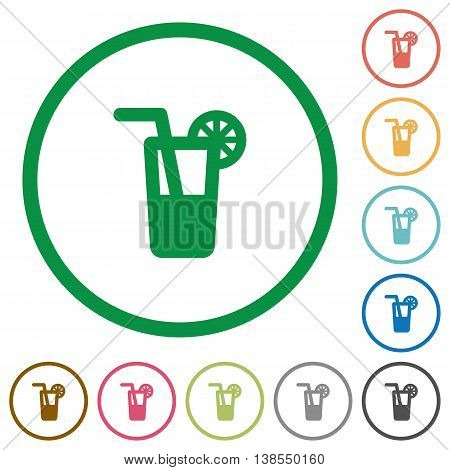 Set of Longdrink color round outlined flat icons on white background