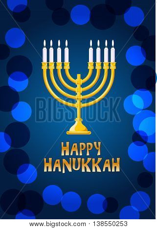 Happy Hanukkah lettering on a bokeh background