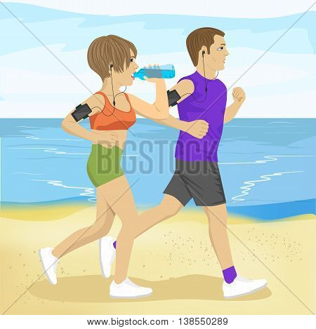 two young people jogging on the beach drinking water, sport and healthy lifestyle