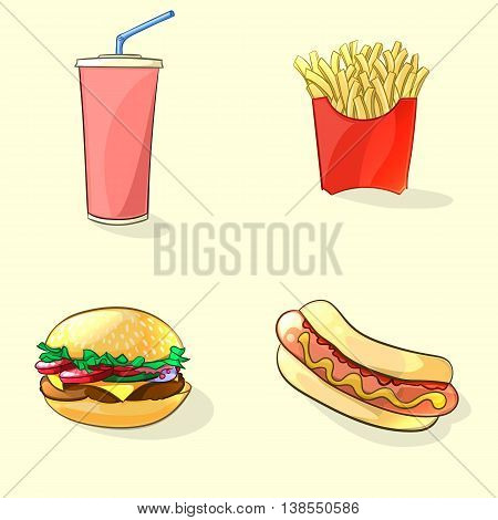 Fast food illustration in cartoon style. Hot dog beverage cup burger and French fries. Vector
