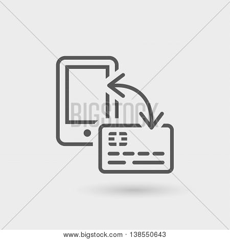 financial operations thin line icon isolated with shadow