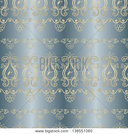 seamless background made in a quiet, cozy light blue background with yellow, Golden silhouettes of storks, hearts and abstract forms reminiscent of the vine