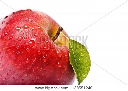 Closeup Isolated Juicy Red Apple Isolated On White