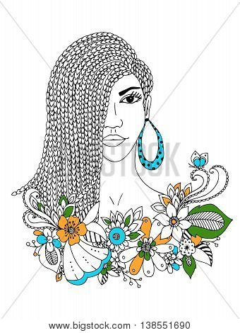 Vector illustration zentangl portrait of African American woman, mulatto, Negro. Doodle floral frame, African braids, coloring book anti stress for adults. Black and white.