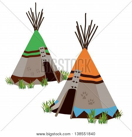 Tipi traditional dwelling by Indigenous people of the Great Plains and Canadian Prairies of North America. Stylized vector illustration