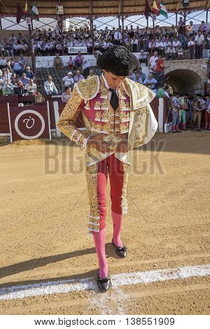 Ubeda Spain - September 29 2010: The spanish bullfighter Curro Diaz at the paseillo or initial parade during a bullfight in the Bullring of Ubeda Spain