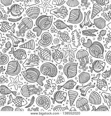Cartoon cute hand drawn sea life seamless pattern. Line art sketchy detailed, with lots of objects background. Endless funny vector illustration.