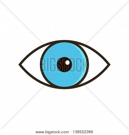 Outlined vector blue eye icon isolated on white background.